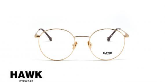 عینک طبی فلزی هاوک - HAWK HW7234 - رنگ طلایی - عکاسی وحدت - عکس از زاویه روبرو
