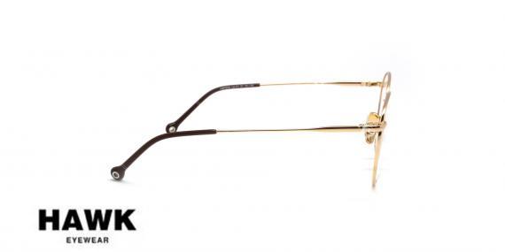 عینک طبی فلزی هاوک - HAWK HW7234 - رنگ طلایی - عکاسی وحدت - عکس از زاویه گنار