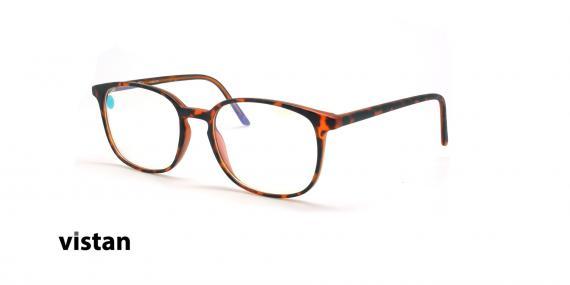 عینک آماده بلوکنترل مربعی ویستان VISTAN OB1028 M - قهوه ای هاوانا - عکاسی وحدت - زاویه سه رخ