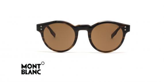 عینک آفتابی گرد کائوچویی مون بلان رنگ قهوه ای و عدسی قهوه ای - عکس زاویه روبرو