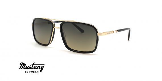 عینک آفتابی مردانه پلاریزه فریم مربعی مشکی طلایی و عدسی قهوه ای طیف دار - عکس از زاویه سه رخ