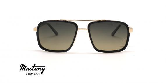 عینک آفتابی مردانه پلاریزه فریم مربعی مشکی طلایی و عدسی قهوه ای طیف دار - عکس از زاویه روبرو