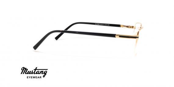 عینک طبی مستطیلی زیرگریف موستانگ فریم فلزی طلایی - عکس از زاویه کنار