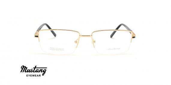 عینک طبی مستطیلی زیرگریف موستانگ فریم فلزی طلایی - عکس از زاویه روبرو