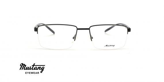 عینک طبی مستطیلی زیرگریف موستانگ فریم مشکی - عکس از زاویه روبرو
