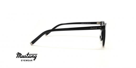 عینک طبی کائوچویی مربعی فریم مشکی - عکس از زاویه کنار