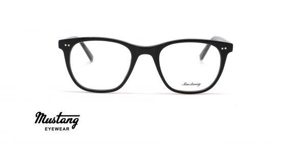 عینک طبی کائوچویی مربعی فریم مشکی - عکس از زاویه روبرو