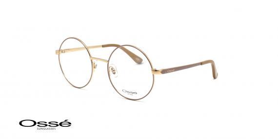 عینگ گرد فلزی اوسه - Osse OS12244- رنک فریم  بژ - عکاسی وحدت- عکس زاویه سه رخ