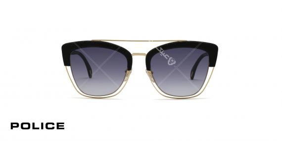 عینک آفتابی پلیس - POLICE SPL 618 - فریم مشکی طلایی عدسی ابی طیف دار - عکاسی وحدت - زاویه رو به رو