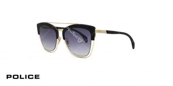 عینک آفتابی پلیس - POLICE SPL 618 - فریم مشکی طلایی عدسی ابی طیف دار - عکاسی وحدت - زاویه سه رخ
