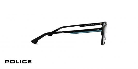عینک طبی پلیس -  Police VPL479- فریم مشکی ابی - عکاسی وحدت - زاویه کنار