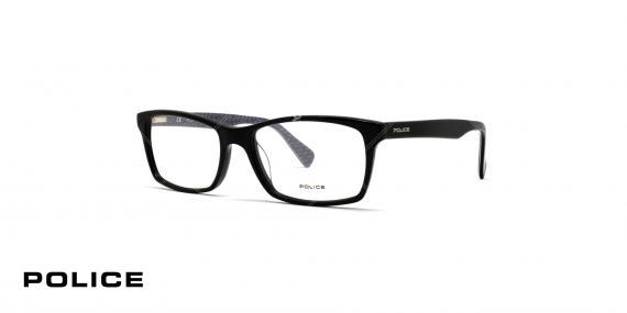 عینک طبی مستطیلی شکل پلیس - مشکی براق - عکاسی وحدت - زاویه سه رخ