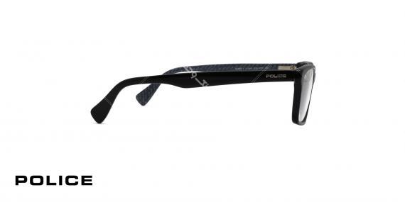 عینک طبی مستطیلی شکل پلیس - مشکی براق - عکاسی وحدت - زاویه کنار