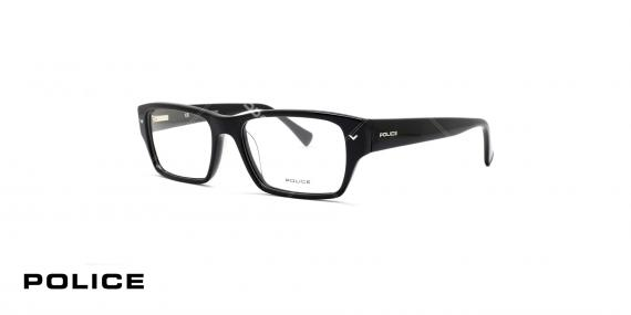 عینک طبی مستطیل شکل پلیس - رنگ مشکی - عکاسی وحدت - زاویه سه رخ