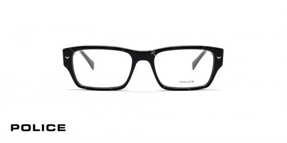عینک طبی مستطیل شکل پلیس - رنگ مشکی - عکاسی وحدت - زاویه روبرو