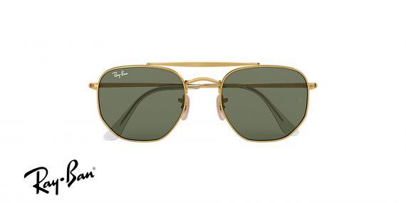 عینک آفتابی ری بن - چند ضلعی - مدل مارشال - دو پل - بدنه طلایی - شیشه سبز - زاویه دسته بسته