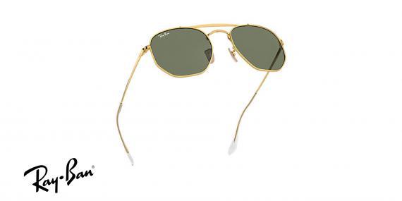 عینک آفتابی ری بن - چند ضلعی - مدل مارشال - دو پل - بدنه طلایی - شیشه سبز - زاویه ایستاده