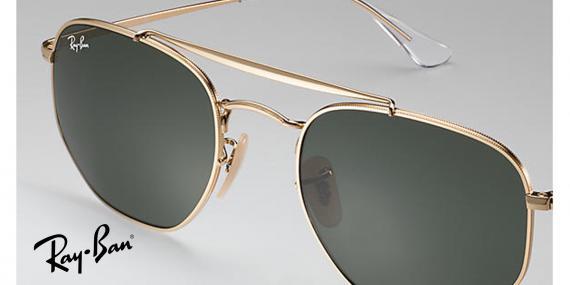 عینک آفتابی ری بن - چند ضلعی - مدل مارشال - دو پل - بدنه طلایی - شیشه سبز - زاویه نزدیک