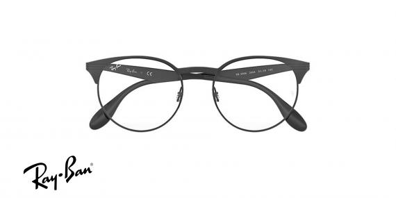 عینک طبی ریبن گرد از جنس استیل - بدنه مشکی - زاویه دسته بسته