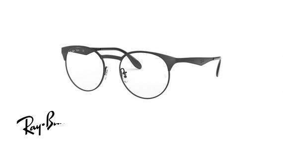 عینک طبی ریبن گرد از جنس استیل - بدنه مشکی - زاویه سه رخ