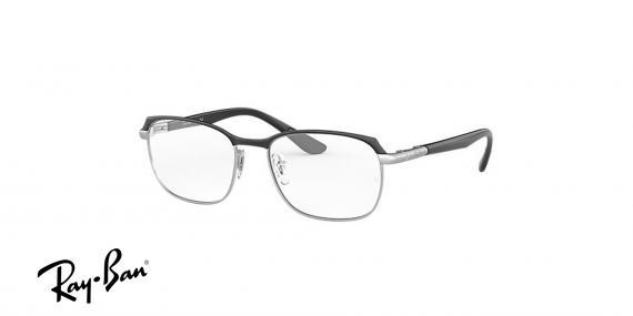 عینک طبی ریبن فلزی مشکی نقره ای طرح مستطیلی - زاویه سه رخ
