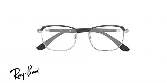 عینک طبی ریبن فلزی مشکی نقره ای طرح مستطیلی - زاویه روبرو