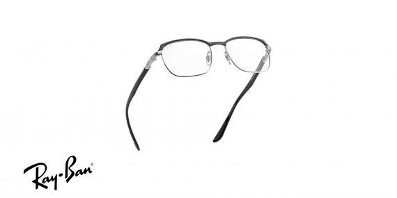 عینک طبی ریبن فلزی مشکی نقره ای طرح مستطیلی