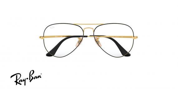 عینک طبی خلبانی ری بن - رنگ طلایی مشکی - زاویه روبرو