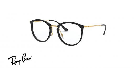 عینک طبی مربعی شکل ری بن اصل - حدقه قهوه ای هاوانا دسته نوک مدادی - زاویه سه رخ
