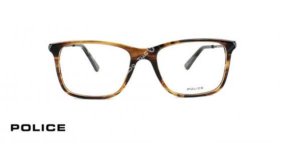 عینک طبی پلیس - POLICE VPL563- رنگ فریم قهوه ای هاوانا- اپتیک وحدت - عکس از روبرو