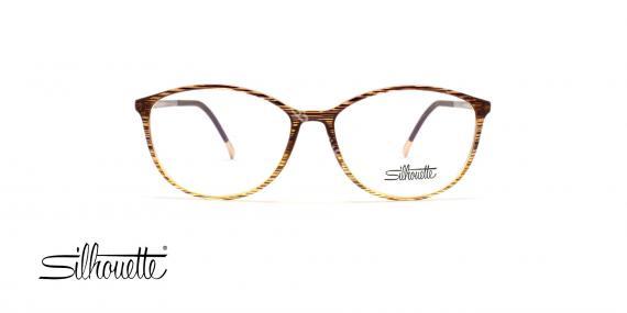 عینک طبی سیلوئت - مدل گربه ای رنگ بژ به سمت شیشه ای - عکاسی وحدت - زاویه روبرو