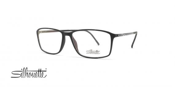 عینک طبی سیلوت - فریم مشکی حدقه مستطیلی - عکاسی وحدت - زاویه سه رخ