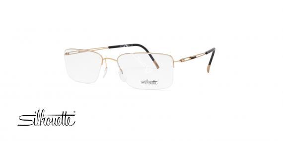 عینک طبی زیرگریف سیلوئت - بدنه طلایی - تیتانیوم - عکاسی وحدت - زاویه سه رخ