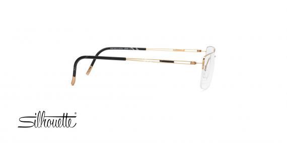 عینک طبی زیرگریف سیلوئت - بدنه طلایی - تیتانیوم - عکاسی وحدت - زاویه کنار