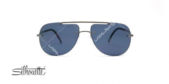 عینک آفتابی خلبانی سیلوئت - بدنه نوک مدادی - عدسی آبی - عکاسی وحدت - زاویه رو به رو
