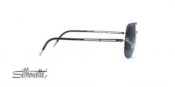 عینک آفتابی خلبانی سیلوئت - بدنه نوک مدادی - عدسی آبی - عکاسی وحدت - زاویه کنار