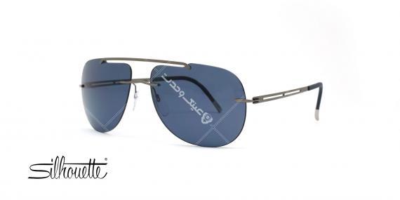 عینک آفتابی خلبانی سیلوئت - بدنه نوک مدادی - عدسی آبی - عکاسی وحدت - زاویه سه رخ