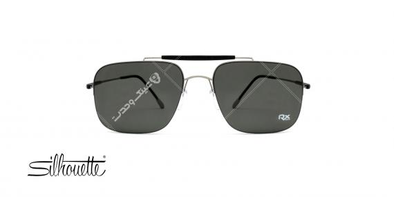 عینک آفتابی مستطیلی سیلوت مشکی با بدنه نقره ای - عکاسی توسط عینک وحدت - زاویه ی رو به رو