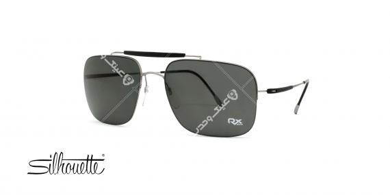 عینک آفتابی مستطیلی سیلوت مشکی با بدنه نقره ای - عکاسی توسط عینک وحدت - زاویه ی راست به