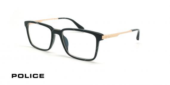 عینک طبی لویس همیلتون پلیس - POLICE SPLA30 lEWIS09 - مشکی طلایی - عکاسی وحدت - زاویه سه رخ