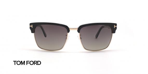 عینک آفتابی کلاب مستر دسته مشکی زیر طلایی تام فورد - زاویه روبرو