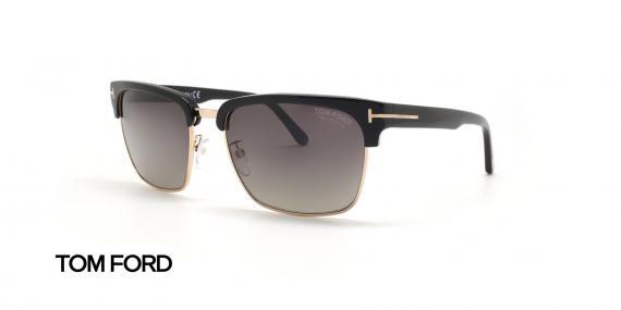 عینک آفتابی کلاب مستر دسته مشکی زیر طلایی تام فورد - زاویه سه رخ