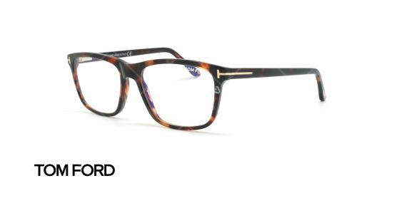 عینک طبی مستطیلی تام فورد - TOM FORD TF5479-B - قهوه ای هاوانا - عکاسی وحدت زاویه سه رخ