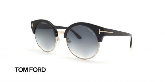 عینک آفتابی کلاب راند مشکی رنگ زیر طلایی تام فورد - زاویه سه رخ