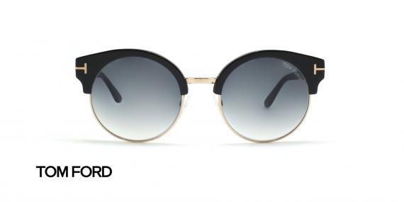 عینک آفتابی کلاب راند مشکی رنگ زیر طلایی تام فورد - زاویه روبرو
