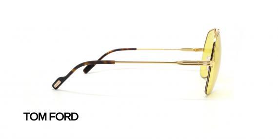 عینک شب طرح خلبانی طلایی شیشه زرد تام فورد - عکاسی عینک وحدت - زاویه کنار