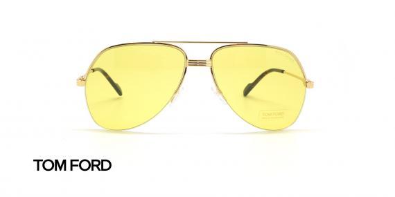 عینک شب طرح خلبانی طلایی شیشه زرد تام فورد - عکاسی عینک وحدت - زاویه روبرو