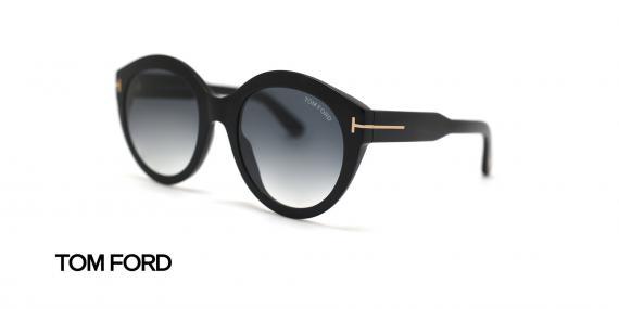 عینک آفتابی گرد مشکی تام فورد - زاویه سه رخ