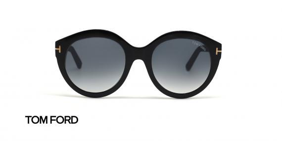 عینک آفتابی کائوچویی گرد مشکی تام فورد - زاویه روبرو