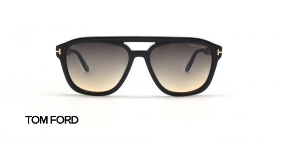 عینک آفتابی کائوچویی طرح شبه خلبانی تام فورد - بدنه مشکی - زاویه روبرو